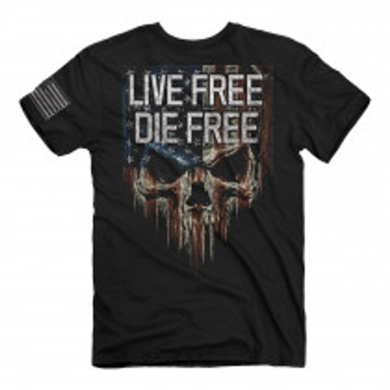 **(OFFICIAL-LIVE-FREE/DIE-FREE & PATRIOTIC-FLAG-DRAPED-SKULL,NICE-CUSTOM-3D-GRAPHIC-PRINTED-DOUBLE-SIDED-PREMIUM-TEE'S)**
