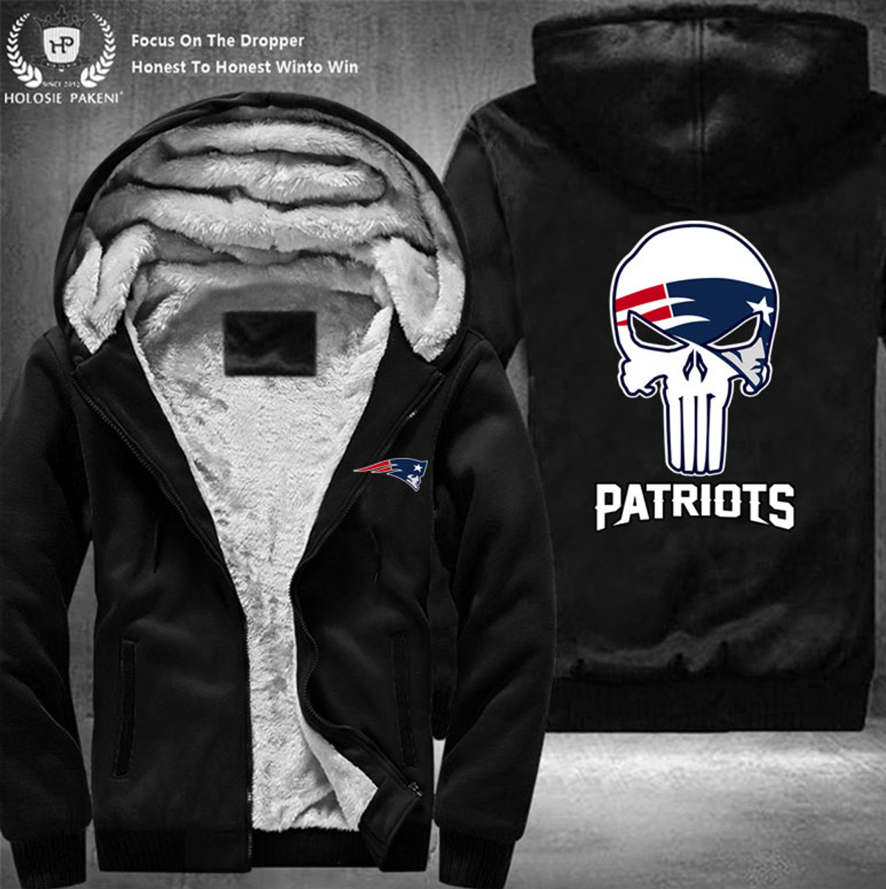 e51c0fff **(OFFICIAL-N.F.L.NEW-ENGLAND-PATRIOTS-FLEECE-LINNED-ZIPPERED-HOODIES/NICE-CUSTOM-3D-EFFECT-GRAPHIC-DOUBLE-SIDED-PRINTING/WITH-OFFICIAL-PATRIOTS-PUNIS...