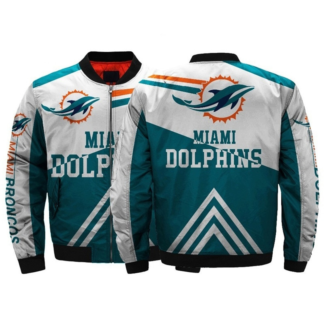 quality design 21d97 0298f **(OFFICIALLY-LICENSED-N.F.L.MIAMI-DOLPHINS/CLASSIC-DOLPHINS-OFFICIAL-TEAM-COLORS  & OFFICIAL-DOLPHINS-LOGOS,CLASSIC-BOMBER/MA-1 FLIGHT-JACKET & ...