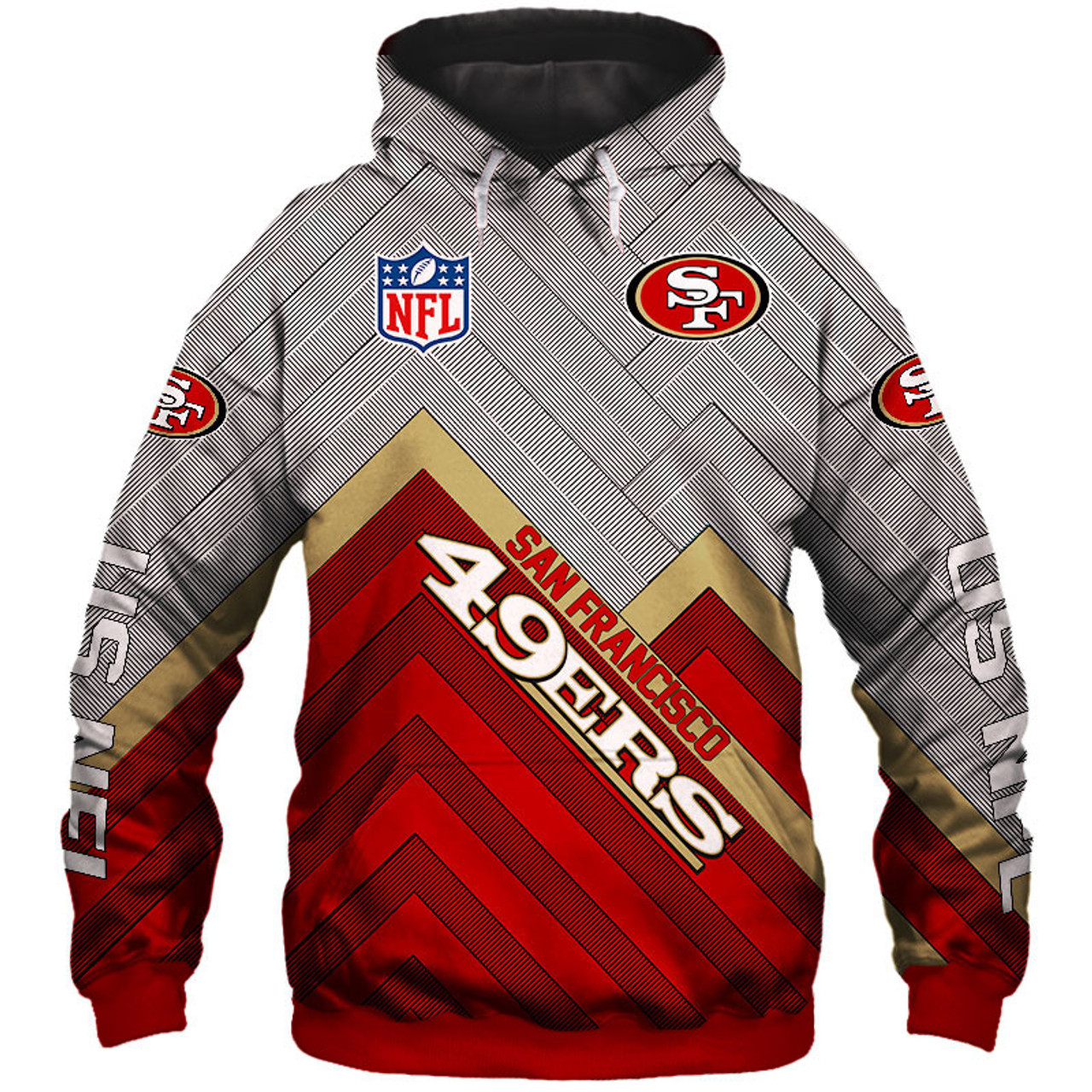pretty nice 225a5 d3f49 **(NEW-OFFICIAL-N.F.L.SAN-FRANCISCO-49ERS-PULLOVER-HOODIES/3D-CUSTOM-49ERS-LOGOS  & OFFICIAL-49ERS-TEAM-COLORS/NICE-3D-DETAILED-GRAPHIC-PRINTED-DOUBLE-...
