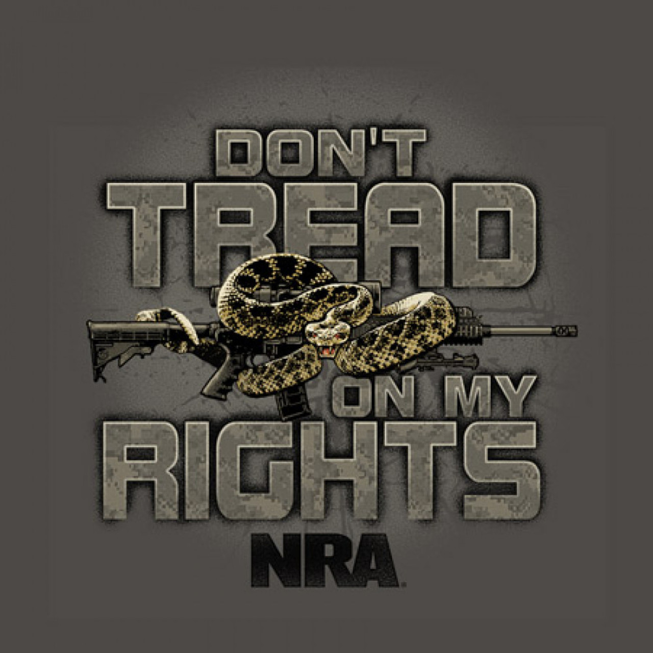 NRA Don't Tread  •Heavyweight 6oz 100% cotton tee •Official Licensed Product •Short set-in sleeves and a two needle hem around the sleeves and bottom •Comfort cut for maximum maneuverability •Double stitched seamless collar, taped neck and Shoulders •High Quality screen printed artwork that will withstand hundreds of washes
