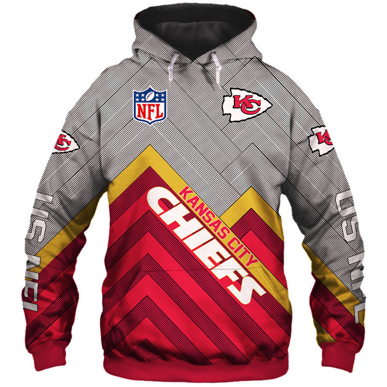 lowest price ded19 7884b **(NEW-OFFICIAL-N.F.L.KANSAS-CITY-CHIEFS-PULLOVER-HOODIES/3D-CUSTOM-CHIEFS-LOGOS  & OFFICIAL-CHIEFS-TEAM-COLORS/NICE-3D-DETAILED-GRAPHIC-PRINTED-DOUBLE...
