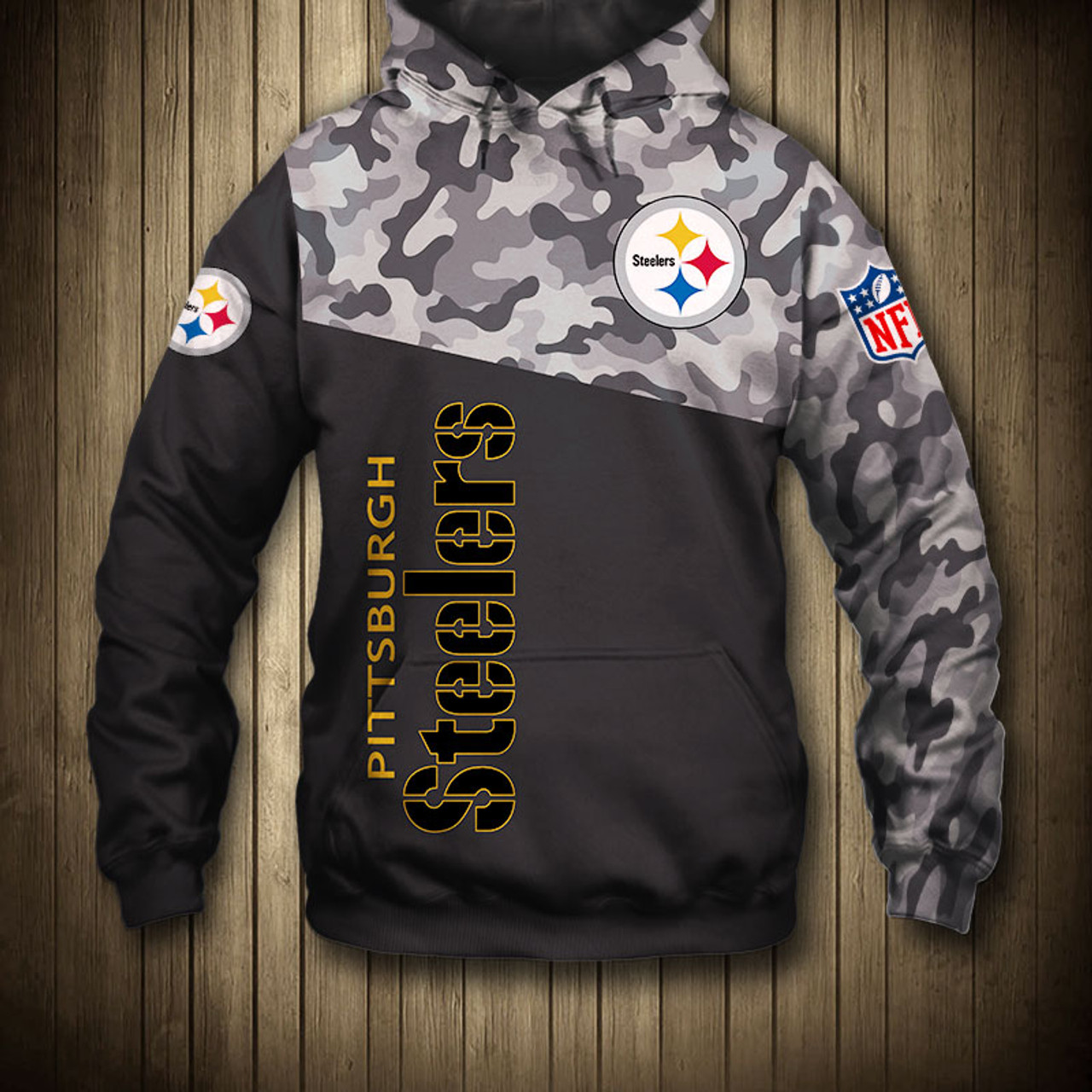 new arrival 6ecda b778a **(OFFICIAL-N.F.L.PITTSBURGH-STEELERS-CAMO.DESIGN-PULLOVER-HOODIES/3D-CUSTOM-STEELERS-LOGOS  & OFFICIAL-STEELERS-TEAM-COLORS/NICE-3D-DETAILED-GRAPHIC-P...