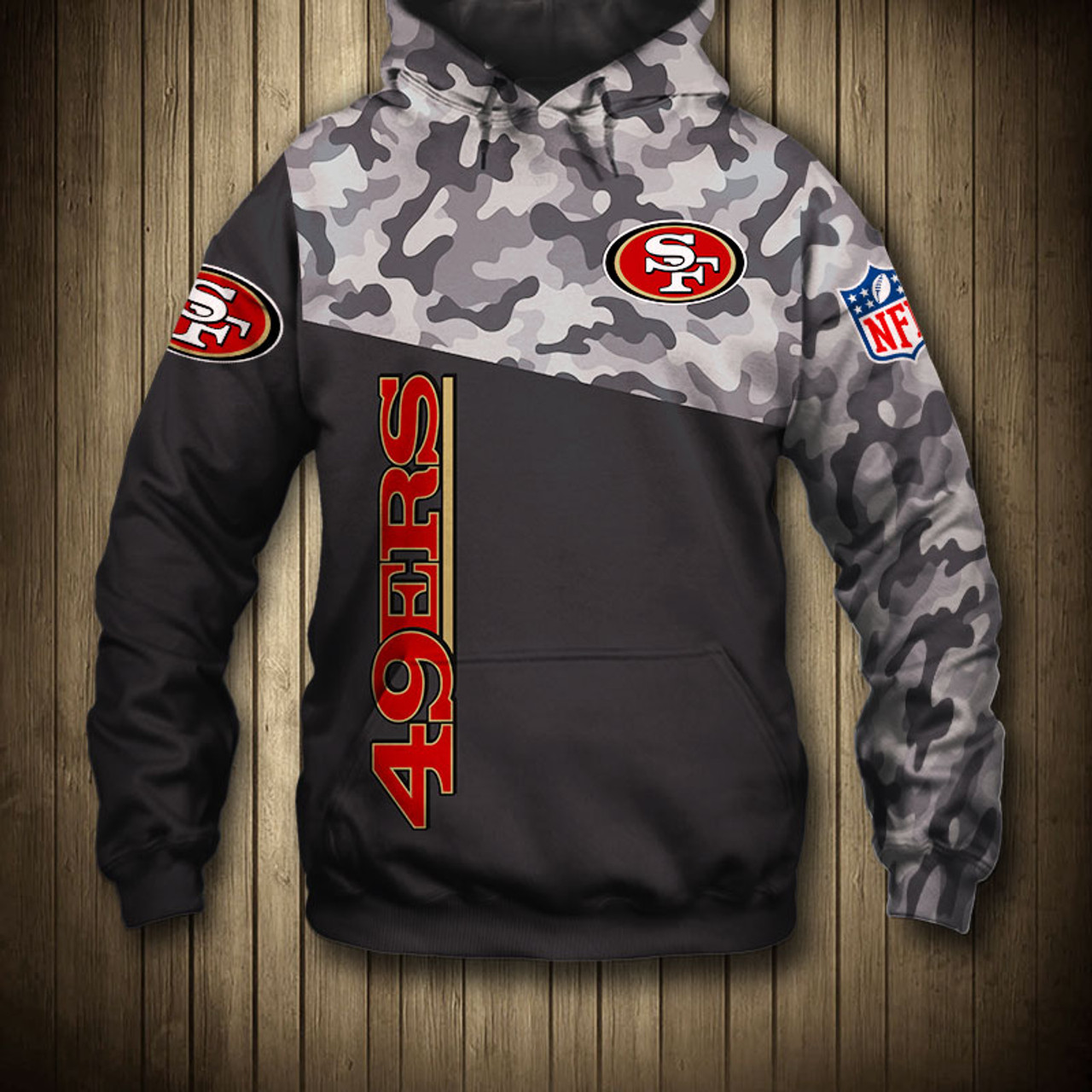 finest selection e05d0 e9bee **(OFFICIAL-N.F.L.SAN-FRANCISCO-49ERS-CAMO.DESIGN-PULLOVER-HOODIES/3D-CUSTOM-49ERS-LOGOS  & OFFICIAL-49ERS-TEAM-COLORS/NICE-3D-DETAILED-GRAPHIC-PRINTED...