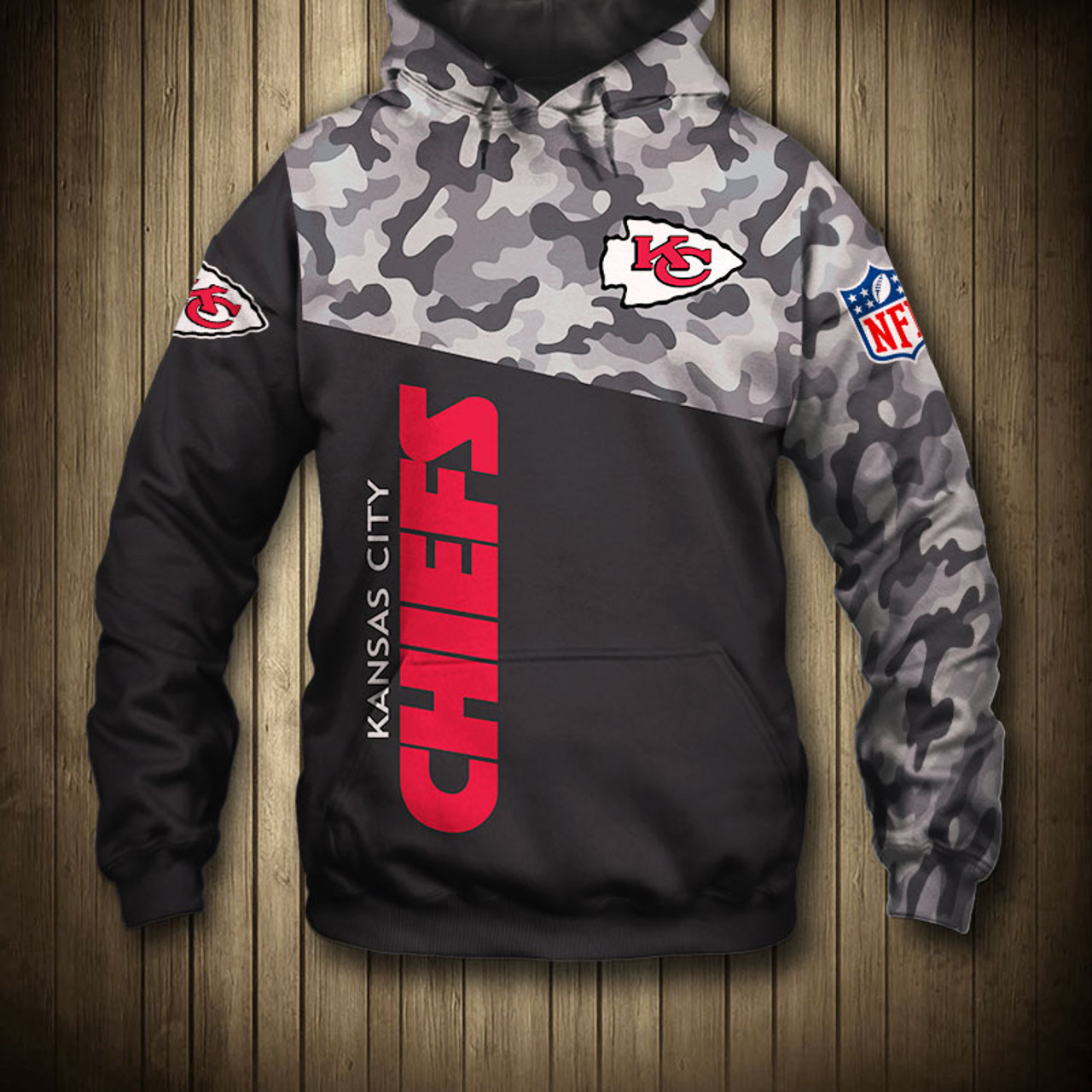 hot sale online e6ec0 68ff8 *(OFFICIAL-N.F.L.KANSAS-CITY-CHIEFS-CAMO.DESIGN-PULLOVER-HOODIES/3D-CUSTOM-CHIEFS-LOGOS  & OFFICIAL-CHIEFS-TEAM-COLORS/NICE-3D-DETAILED-GRAPHIC-PRINTED...