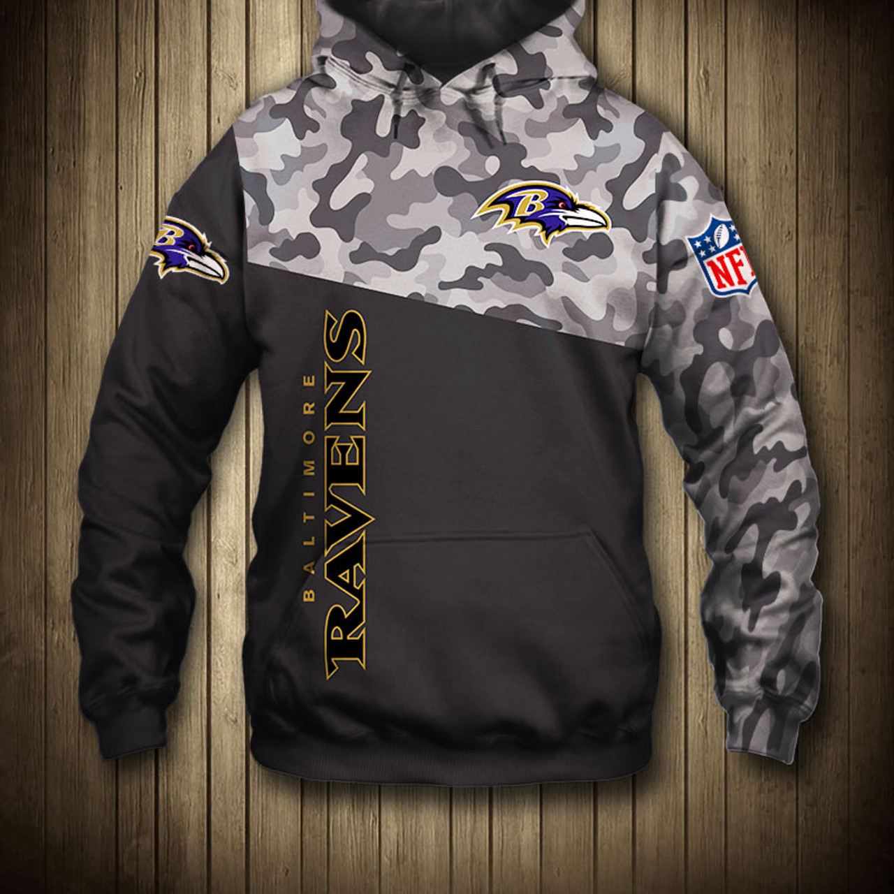 free shipping b7318 dfee4 **(OFFICIAL-N.F.L.BALTIMORE-RAVENS-CAMO.DESIGN-PULLOVER-HOODIES/3D-CUSTOM-RAVENS-LOGOS  & OFFICIAL-RAVENS-TEAM-COLORS/NICE-3D-DETAILED-GRAPHIC-PRINTED-...