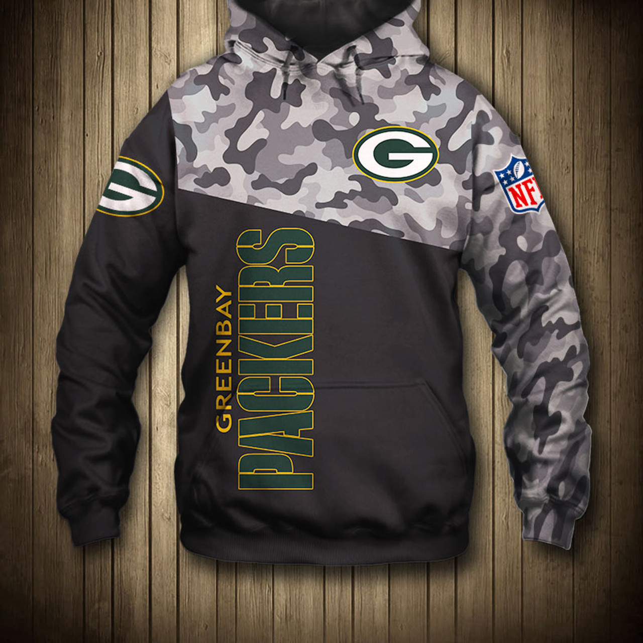 the best attitude 74b23 7511e **(OFFICIAL-N.F.L.GREEN-BAY-PACKERS-CAMO.DESIGN-PULLOVER-HOODIES/3D-CUSTOM-PACKERS-LOGOS  & OFFICIAL-PACKERS-TEAM-COLORS/NICE-3D-DETAILED-GRAPHIC-PRINT...