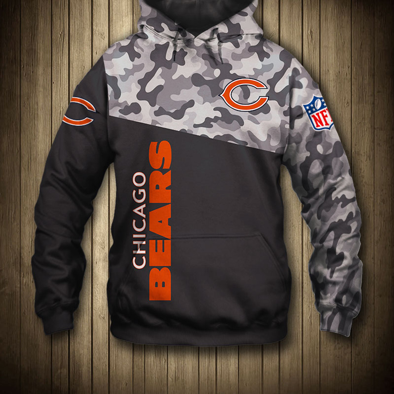 **(OFFICIAL-N.F.L.CHICAGO-BEARS-CAMO.DESIGN-PULLOVER-HOODIES/3D-CUSTOM-BEARS-LOGOS & OFFICIAL-BEARS-TEAM-COLORS/NICE-3D-DETAILED-GRAPHIC-PRINTED-DOUBLE-SIDED/ALL-OVER-ENTIRE-HOODIE-PRINTED-DESIGN/WARM-PREMIUM-N.F.L.BEARS-PULLOVER-HOODIES)**