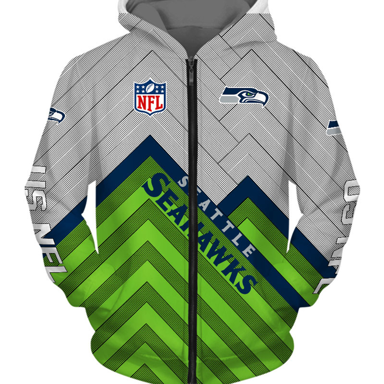 low priced 8d417 ebb4a **(OFFICIAL-N.F.L.SEATTLE-SEAHAWKS-ZIPPERED-HOODIES/3D-CUSTOM-SEAHAWKS-LOGOS  & OFFICIAL-SEAHAWKS-TEAM-COLORS/NICE-3D-DETAILED-GRAPHIC-PRINTED-DOUBLE-S...