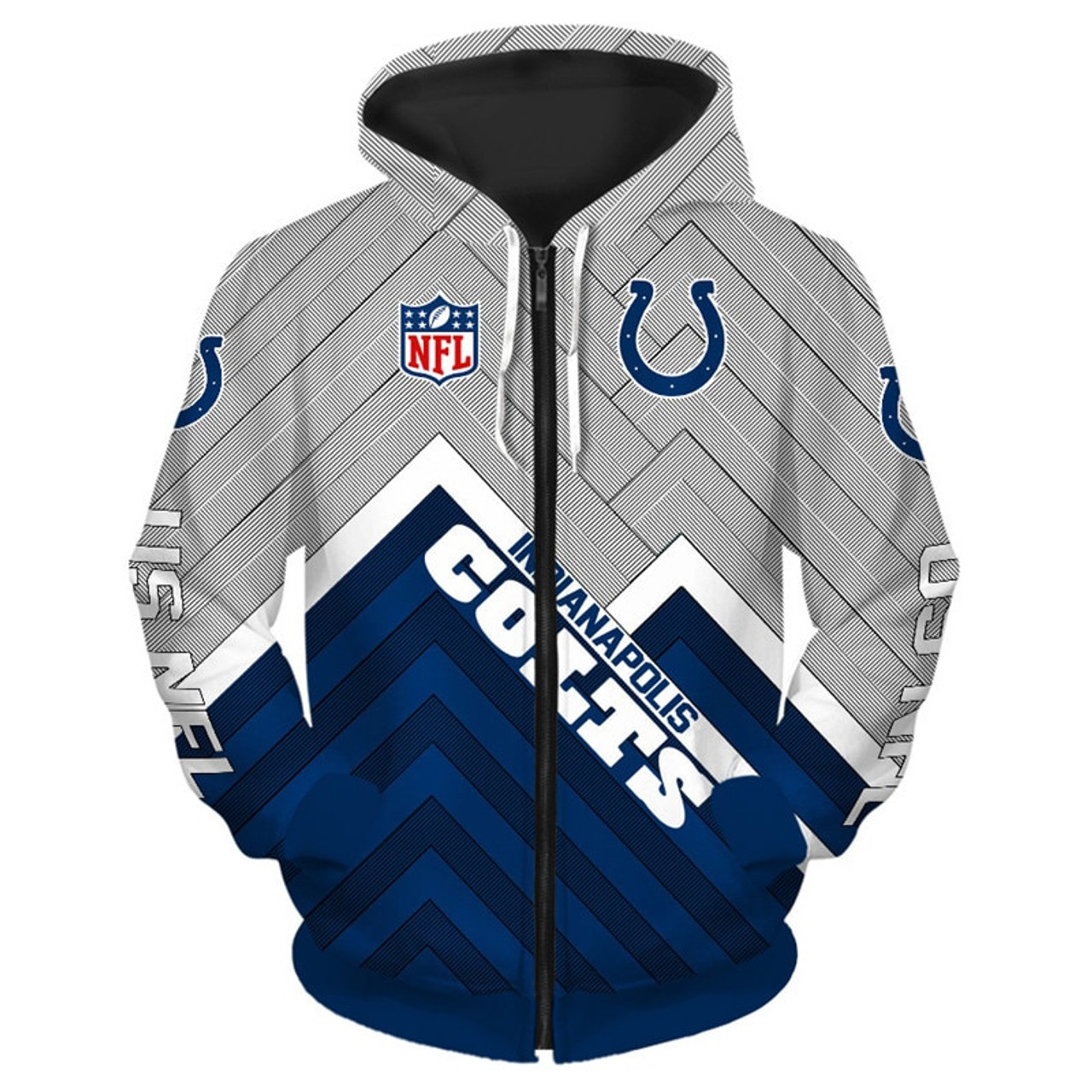 the best attitude 232fe b0c29 **(NEW-OFFICIAL-N.F.L.INDIANAPOLIS-COLTS-ZIPPERED-HOODIES/3D-CUSTOM-COLTS-LOGOS  & OFFICIAL-COLTS-TEAM-COLORS/NICE-3D-DETAILED-GRAPHIC-PRINTED-DOUBLE-S...
