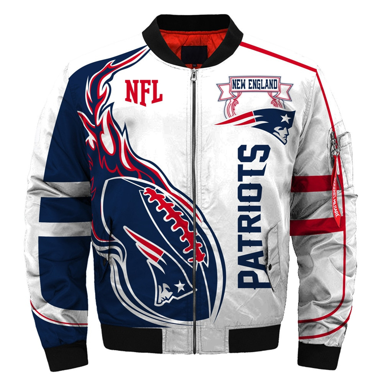 patriots england team official jacket bomber custom graphic jackets 3d double colors flight apparel logos printed sided warm nice premium