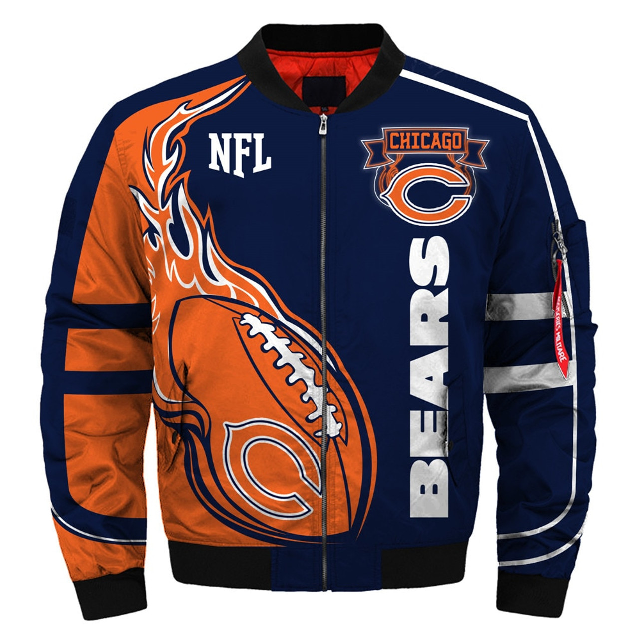 new concept 75ac9 89d7c **(OFFICIALLY-LICENSED-N.F.L.CHICAGO-BEARS & OFFICIAL-BEARS-TEAM-COLORS &  OFFICIAL-CLASSIC-BEARS-LOGOS-BOMBER/FLIGHT-JACKET & ...