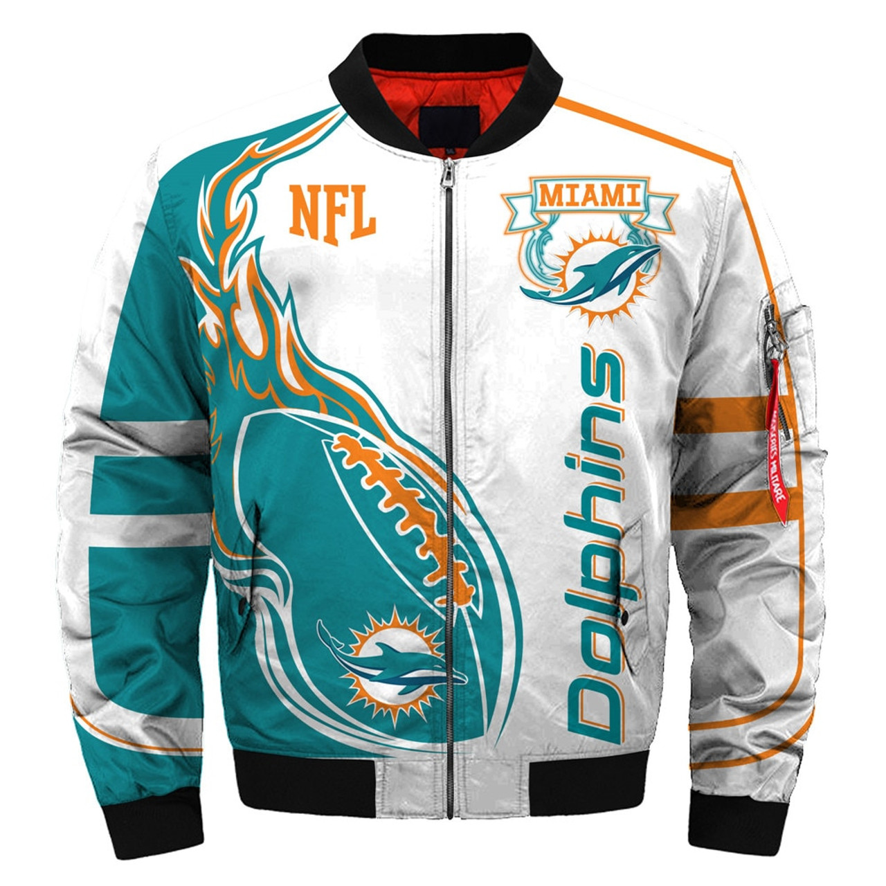 official photos 57063 397ad **(OFFICIALLY-LICENSED-N.F.L.MIAMI-DOLPHINS & OFFICIAL-DOLPHINS-TEAM-COLORS  & OFFICIAL-CLASSIC-DOLPHINS-LOGOS-BOMBER/FLIGHT-JACKET & ...