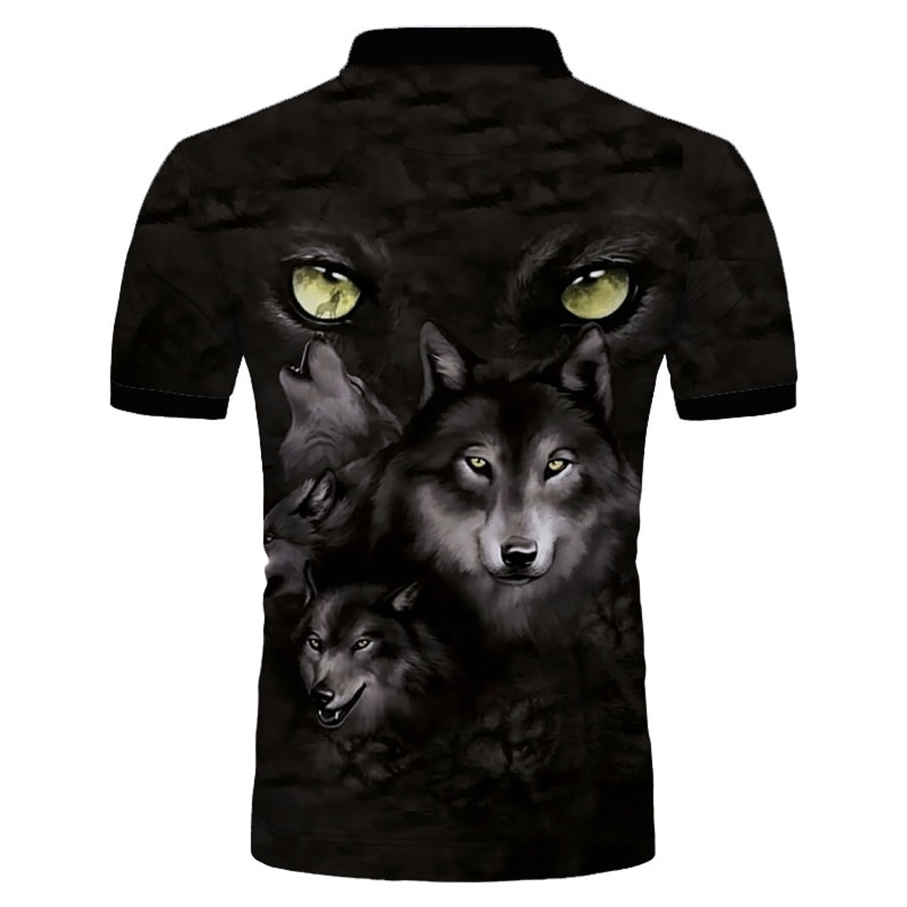 **(CUSTOM-3D-WILD-EYED-WOLVES-HOWLING-IN THE NIGHT/MENS-POLO-SPORT-SHIRTS,NICE-3D-CUSTOM-DETAILED-GRAPHIC-PRINTED/DOUBLE-SIDED-PRINTED-DESIGN-PREMIUM-PULLOVER-TRENDY-POLO-SHIRTS)**