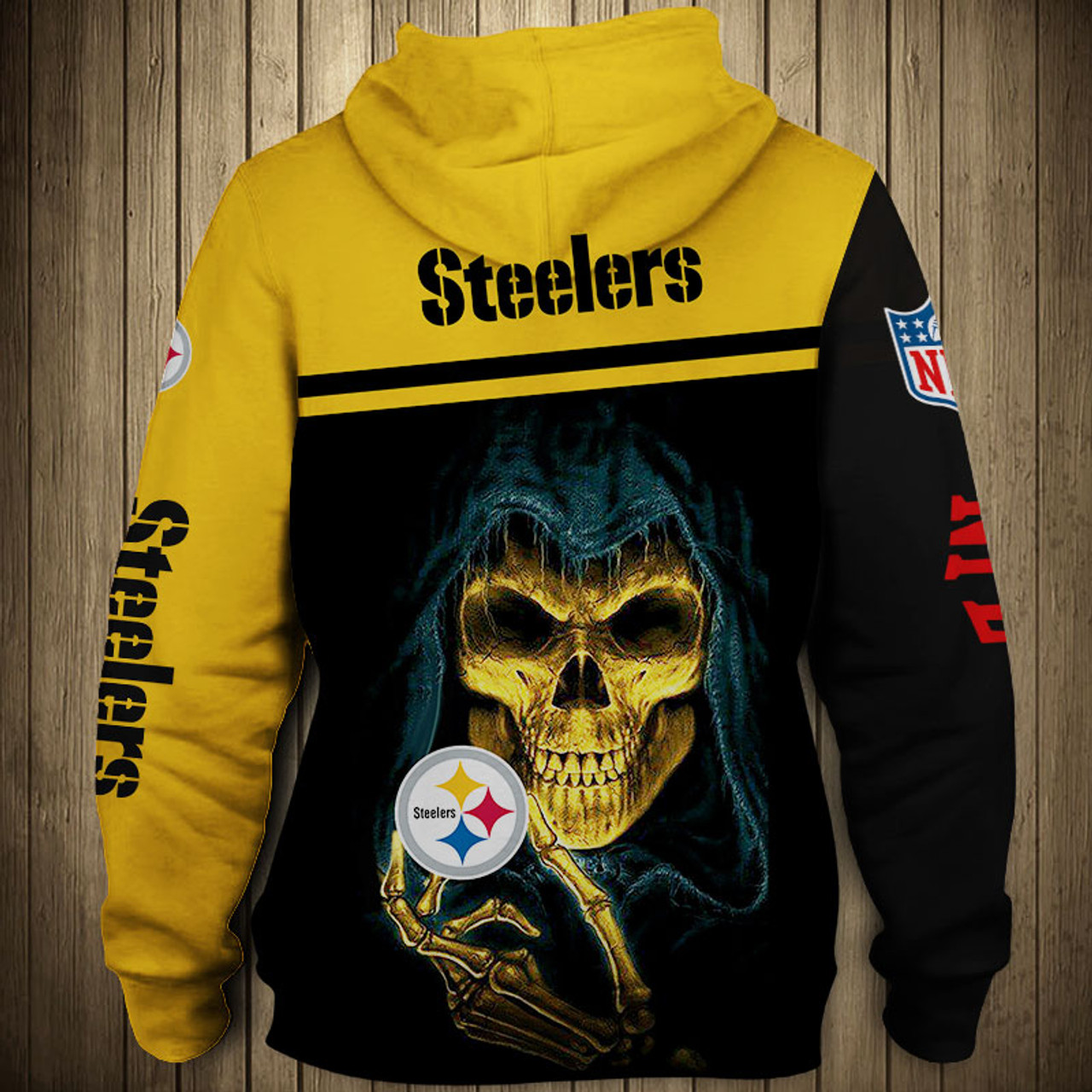 the latest ecd18 c52a7 **(OFFICIAL-N.F.L.PITTSBURGH-STEELERS-TEAM-PULLOVER-HOODIES/NICE-CUSTOM-3D-GRAPHIC-PRINTED-DOUBLE-SIDED-ALL-OVER-DESIGN  & GRAPHIC-STEELERS-LOGOS & ...