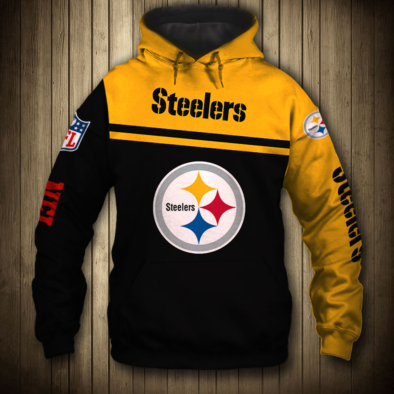 the latest e243f f606e **(OFFICIAL-N.F.L.PITTSBURGH-STEELERS-TEAM-PULLOVER-HOODIES/NICE-CUSTOM-3D-GRAPHIC-PRINTED-DOUBLE-SIDED-ALL-OVER-DESIGN  & GRAPHIC-STEELERS-LOGOS & ...