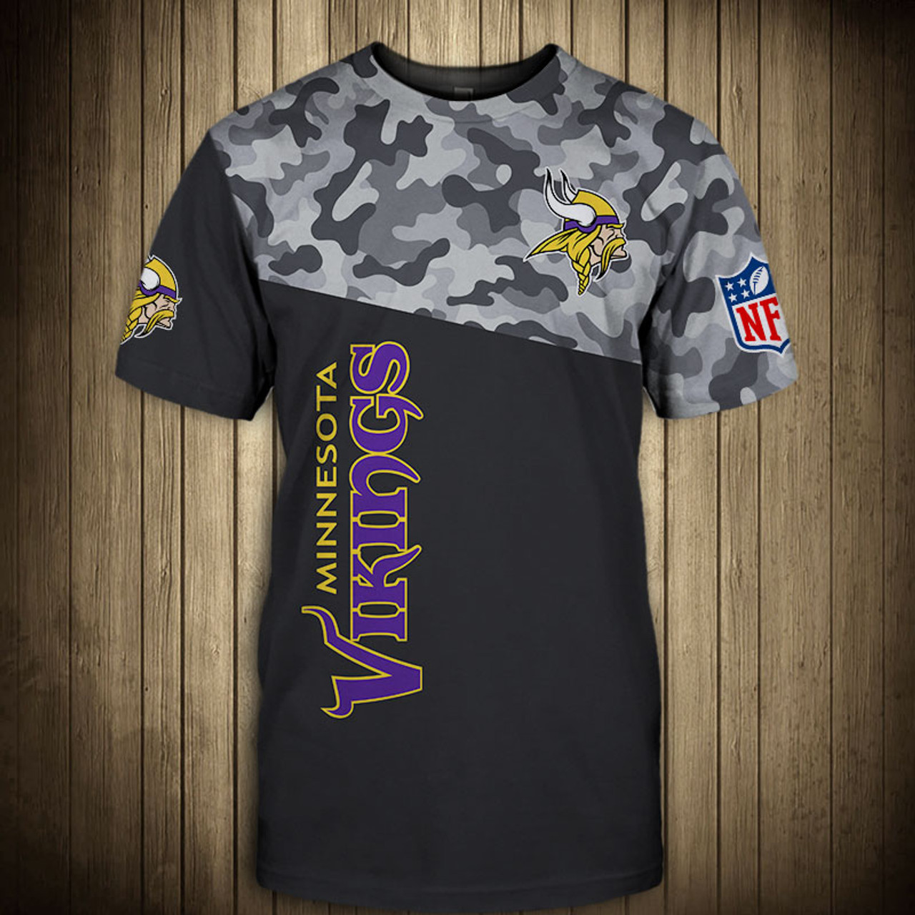 **(OFFICIAL-N.F.L.MINNESOTA-VIKINGS-CAMO.DESIGN-TEAM-TEES/CUSTOM-3D-VIKINGS-OFFICIAL-LOGOS & OFFICIAL-VIKINGS-TEAM-COLORS/DETAILED-3D-GRAPHIC-PRINTED-DOUBLE-SIDED/ALL-OVER-FRONT & BACK-GRAPHIC-PRINTED-DESIGN/PREMIUM-N.F.L.VIKINGS-CAMO.TEAM-TEES)**