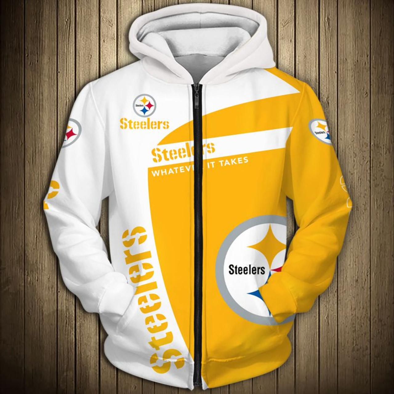 new arrivals 4f297 fd8fb **(OFFICIAL-N.F.L.PITTSBURGH-STEELERS-ZIPPERED-HOODIES/3D-CUSTOM-STEELERS-LOGOS  & OFFICIAL-STEELERS-TEAM-COLORS/NICE-3D-DETAILED-GRAPHIC-PRINTED-DOUBL...