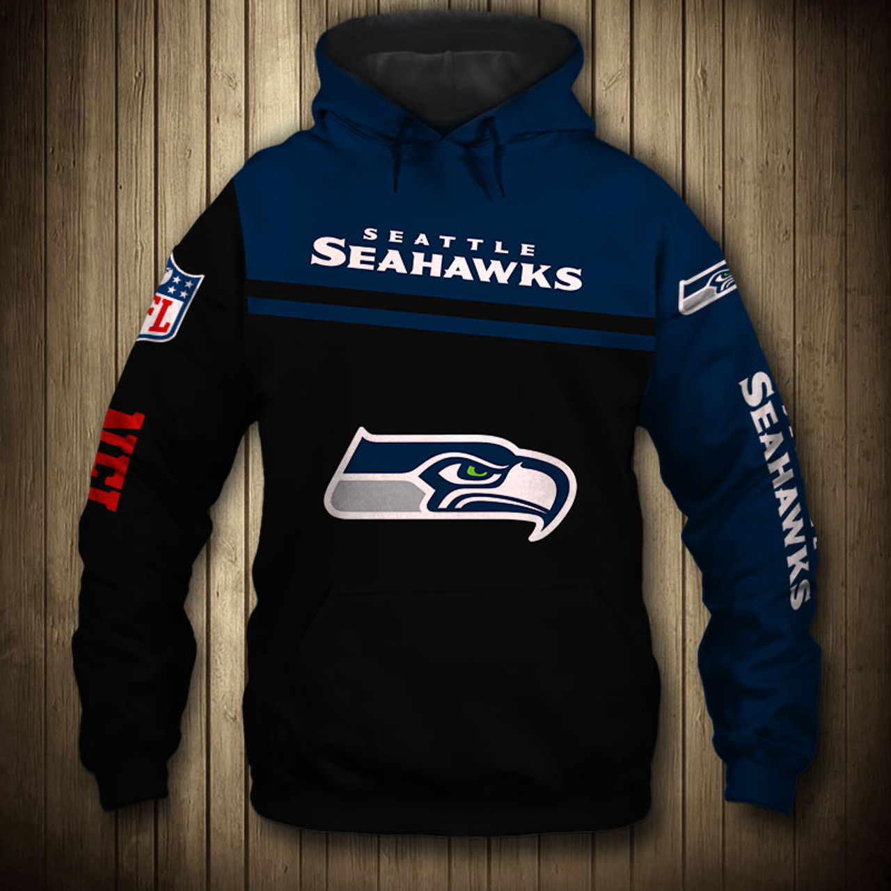 **(OFFICIAL NEW N.F.L.SEATTLE SEAHAWKS TEAM PULLOVER HOODIESNICE CUSTOM 3D GRAPHIC PRINTED DOUBLE SIDED ALL OVER GRAPHIC SEAHAWKS LOGOS &