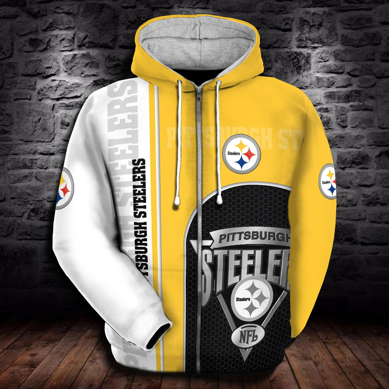 brand new d6b3d 7d32f **(OFFICIAL-N.F.L.PITTSBURGH-STEELERS-ZIPPERED-HOODIES/CUSTOM-3D-STEELERS-LOGOS  & OFFICIAL-STEELERS-TEAM-COLORS/NICE-3D-DETAILED-GRAPHIC-PRINTED-DOUBL...