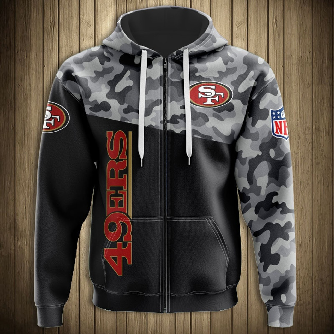 *(OFFICIAL-N.F.L.SAN-FRANCISCO-49ERS-CAMO.DESIGN-ZIPPERED-HOODIES/3D-CUSTOM-49ERS-LOGOS & OFFICIAL-49ERS-TEAM-COLORS/NICE-3D-DETAILED-GRAPHIC-PRINTED-DOUBLE-SIDED/ALL-OVER-ENTIRE-HOODIE-PRINTED-DESIGN/WARM-PREMIUM-N.F.L.49ERS-ZIPPERED-TEAM-HOODIES)*