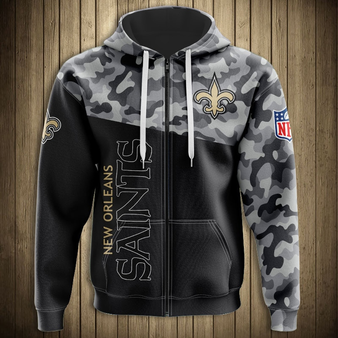 brand new 1ca8f 405c3 **(OFFICIAL-N.F.L.NEW-ORLEANS-SAINTS-CAMO.DESIGN-ZIPPERED-HOODIES/3D-CUSTOM-SAINTS-LOGOS  & OFFICIAL-SAINTS-TEAM-COLORS/NICE-3D-DETAILED-GRAPHIC-PRINTE...