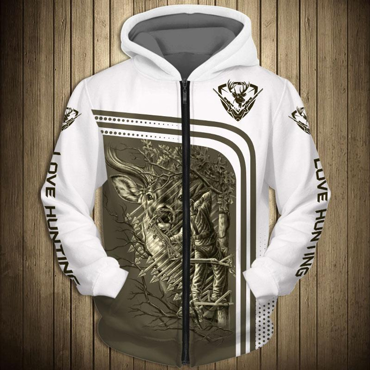 4f06c6c3 **(OFFICIAL-ARCHERY-BUCK-HUNTING-ZIPPERED-HOODIES/3-D-CUSTOM-DETAILED- GRAPHIC-PRINTED/DOUBLE-SIDED-ALL-OVER-PRINTED-DESIGN/LOVE-HUNTING-DOWN-SLEEVES  ...