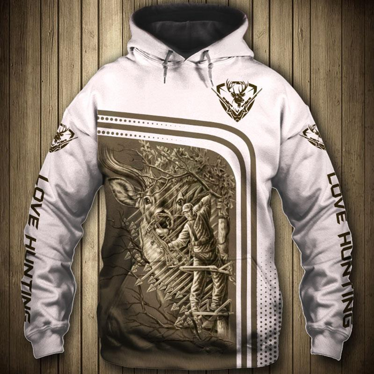 **(OFFICIAL ARCHERY BUCK HUNTING PULLOVER HOODIES3 D CUSTOM DETAILED GRAPHIC PRINTEDDOUBLE SIDED ALL OVER PRINTED DESIGNLOVE HUNTING DOWN SLEEVES &