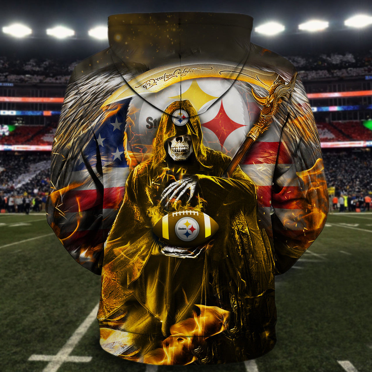 **(OFFICIAL-N.F.L.PITTSBURGH-STEELERS-PULLOVER-HOODIES/3D-CUSTOM-STEELERS-LOGOS & OFFICIAL-STEELERS-TEAM-COLORS/PATRIOTIC-GRIMM-REAPER & SUDDEN-DEATH/CUSTOM-3D-GRAPHIC-PRINTED-DOUBLE-SIDED-DESIGN/TRENDY-WARM-PREMIUM-N.F.L.STEELERS-PULLOVER-HOODIES)**
