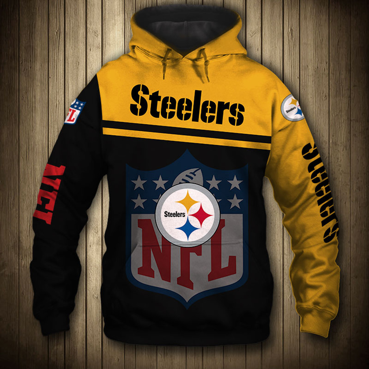 new product eb5d3 e01fc **(OFFICIAL-N.F.L.PITTSBURGH-STEELERS-PULLOVER-HOODIES/3D-CUSTOM-STEELERS-LOGOS  & OFFICIAL-STEELERS-TEAM-COLORS/CUSTOM-3D-GRAPHIC-PRINTED-DOUBLE-SIDED...