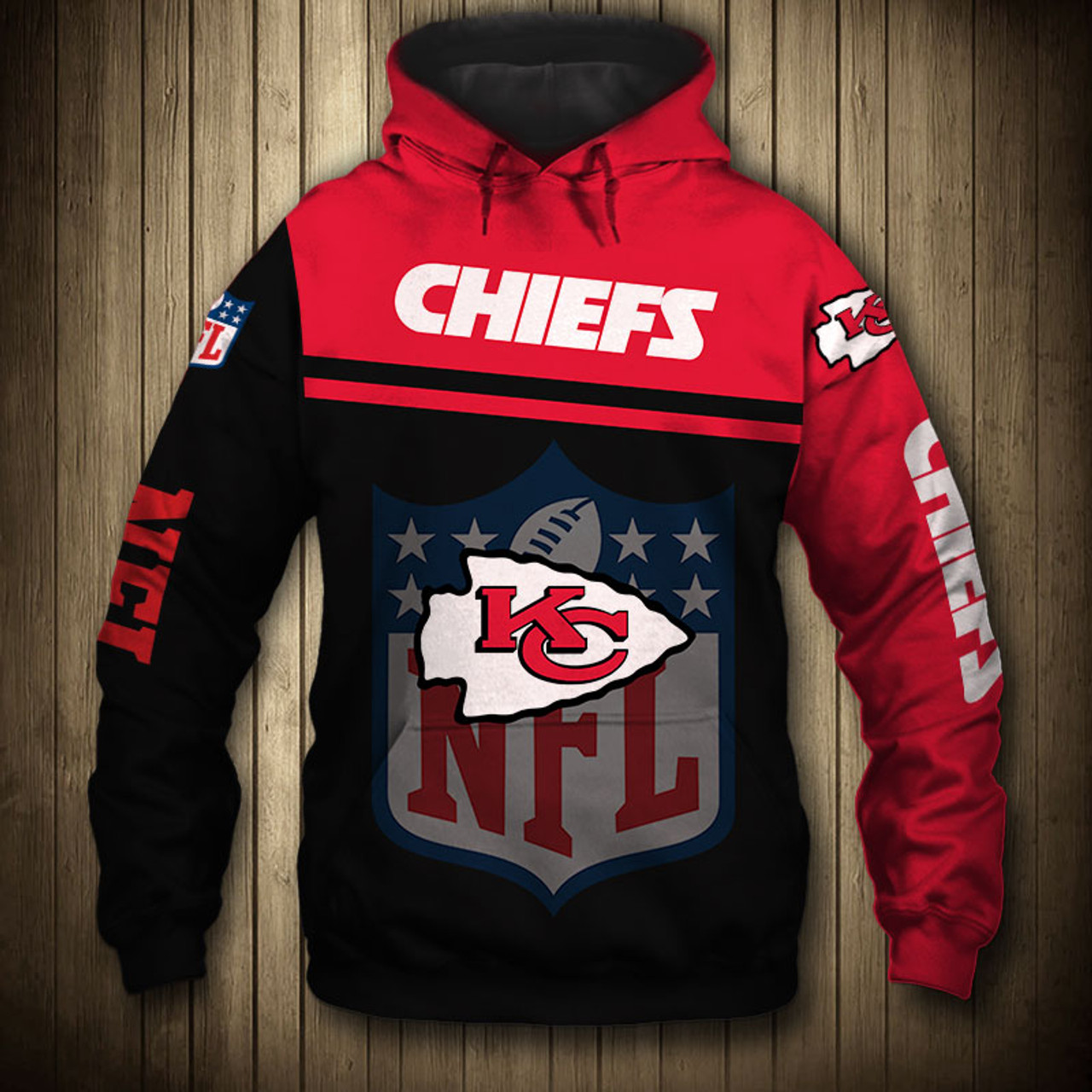 sports shoes 2612e b655e **(OFFICIAL-N.F.L.KANSAS-CITY-CHIEFS-PULLOVER-HOODIES/3D-CUSTOM-CHIEFS-LOGOS  & OFFICIAL-CHIEFS-TEAM-COLORS/CUSTOM-3D-DETAILED-GRAPHIC-PRINTED-DOUBLE-S...