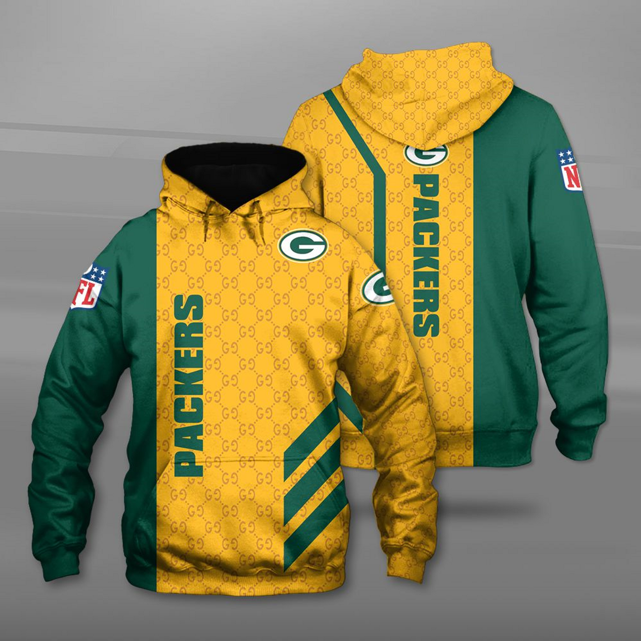 detailed look 72682 35445 **(OFFICIAL-N.F.L.GREEN-BAY-PACKERS-TEAM-GAME-DAY-PULLOVER-HOODIES/CUSTOM-3D-GRAPHIC-PRINTED-DETAILED-DOUBLE-SIDED-ALL-OVER/CLASSIC-OFFICIAL-PACKERS-L...