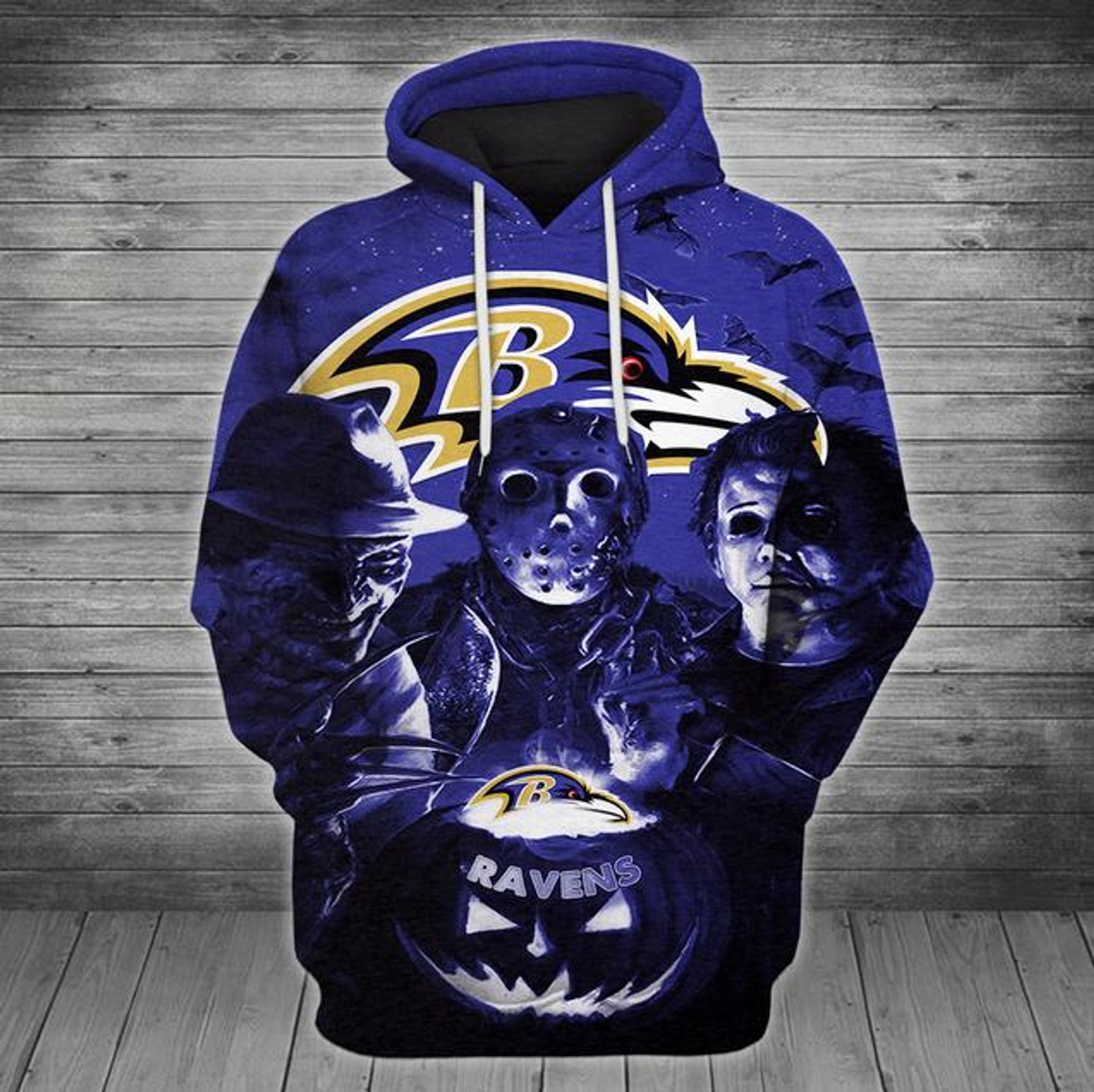 **(OFFICIALLY-LICENSED-N F L BALTIMORE-RAVENS/CLASSIC-HALLOWEEN-HORROR-MOVIE-CHARACTERS-PULLOVER-HOODIES/NICE-DETAILED-PREMIUM-CUSTOM-3D-GRAPHIC-PRINT