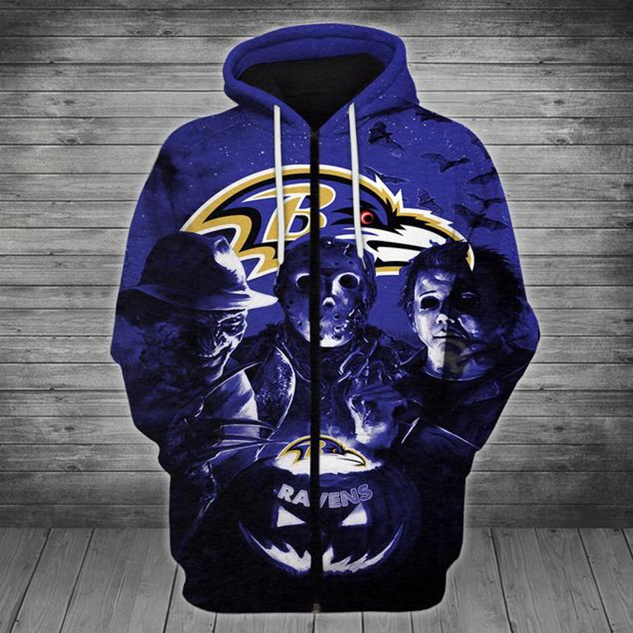 14e1c664 **(OFFICIALLY-LICENSED-N.F.L.BALTIMORE-RAVENS/CLASSIC-HALLOWEEN-HORROR-MOVIE-CHARACTERS-ZIPPERED-HOODIES/NICE-DETAILED-PREMIUM-CUSTOM-3D-GRAPHIC-PRINT...