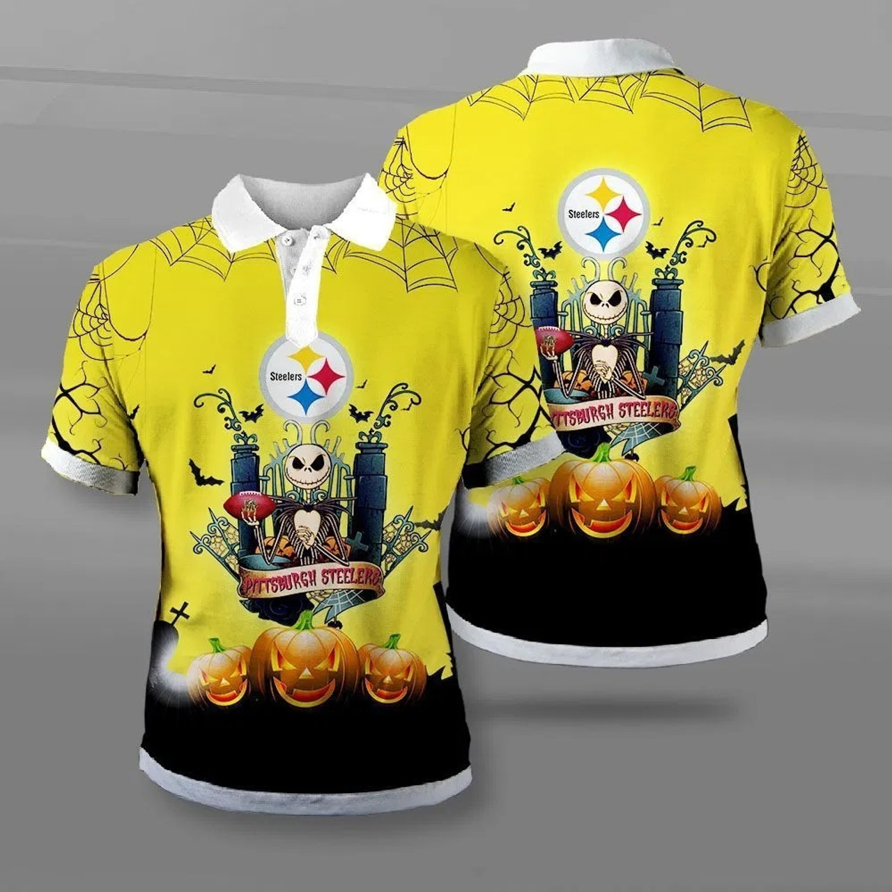 **(OFFICIAL-NEW-N.F.L.PITTSBURGH-STEELERS-TEAM-POLO-SHIRTS/CUSTOM-3D-STEELERS-OFFICIAL-LOGOS & OFFICIAL-CLASSIC-STEELERS-TEAM-COLORS/DETAILED-3D-GRAPHIC-PRINTED-DOUBLE-SIDED-DESIGN/PREMIUM-N.F.L.STEELERS-HALLOWEEN-NIGHTMARE-THEMED-POLO-SHIRTS)**