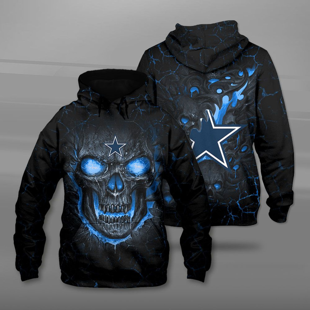 **(OFFICIAL-N.F.L.DALLAS-COWBOYS-TEAM-PULLOVER-HOODIES/CUSTOM-3D-COWBOYS-OFFICIAL-LOGOS & OFFICIAL-CLASSIC-COWBOYS-TEAM-COLORS/DETAILED-3D-GRAPHIC-PRINTED-DOUBLE-SIDED-DESIGN/PREMIUM-N.F.L.COWBOYS & BIG-FIREY-SKULL-THEMED-PULLOVER-HOODIES)**