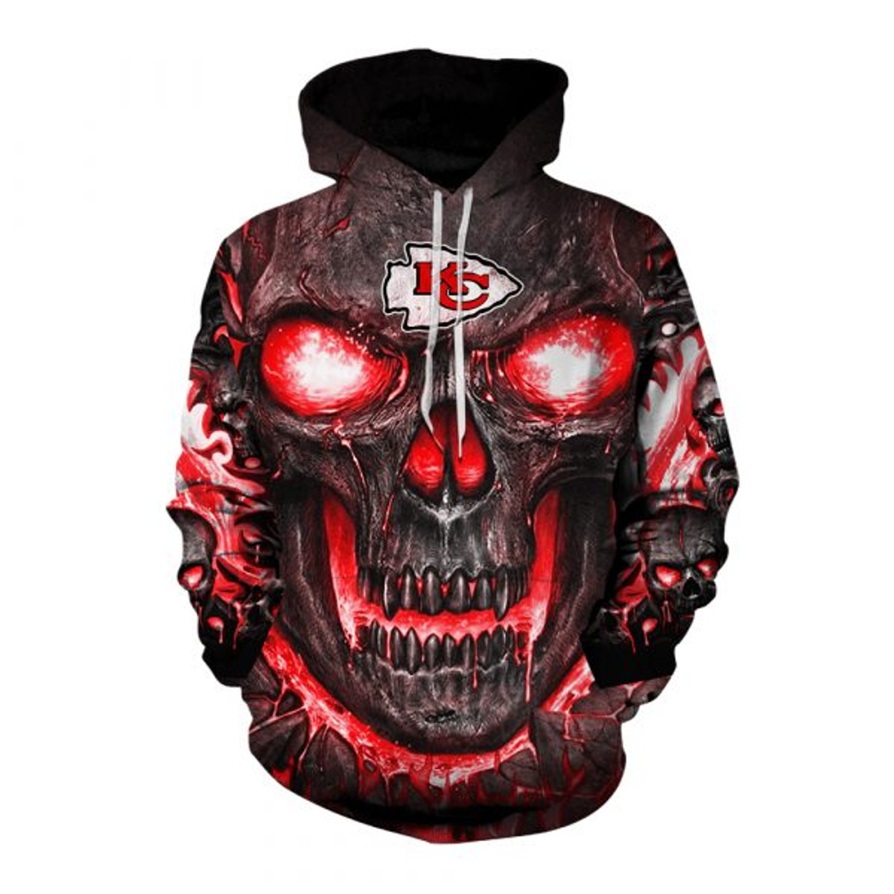 **(OFFICIAL-N.F.L.KANSAS-CITY-CHIEFS-TEAM-PULLOVER-HOODIES/CUSTOM-3D-CHIEFS-OFFICIAL-LOGOS & OFFICIAL-CLASSIC-CHIEFS-TEAM-COLORS/DETAILED-3D-GRAPHIC-PRINTED-DOUBLE-SIDED-DESIGN/PREMIUM-N.F.L.CHIEFS & BIG-FIREY-SKULL-THEMED-PULLOVER-HOODIES)**