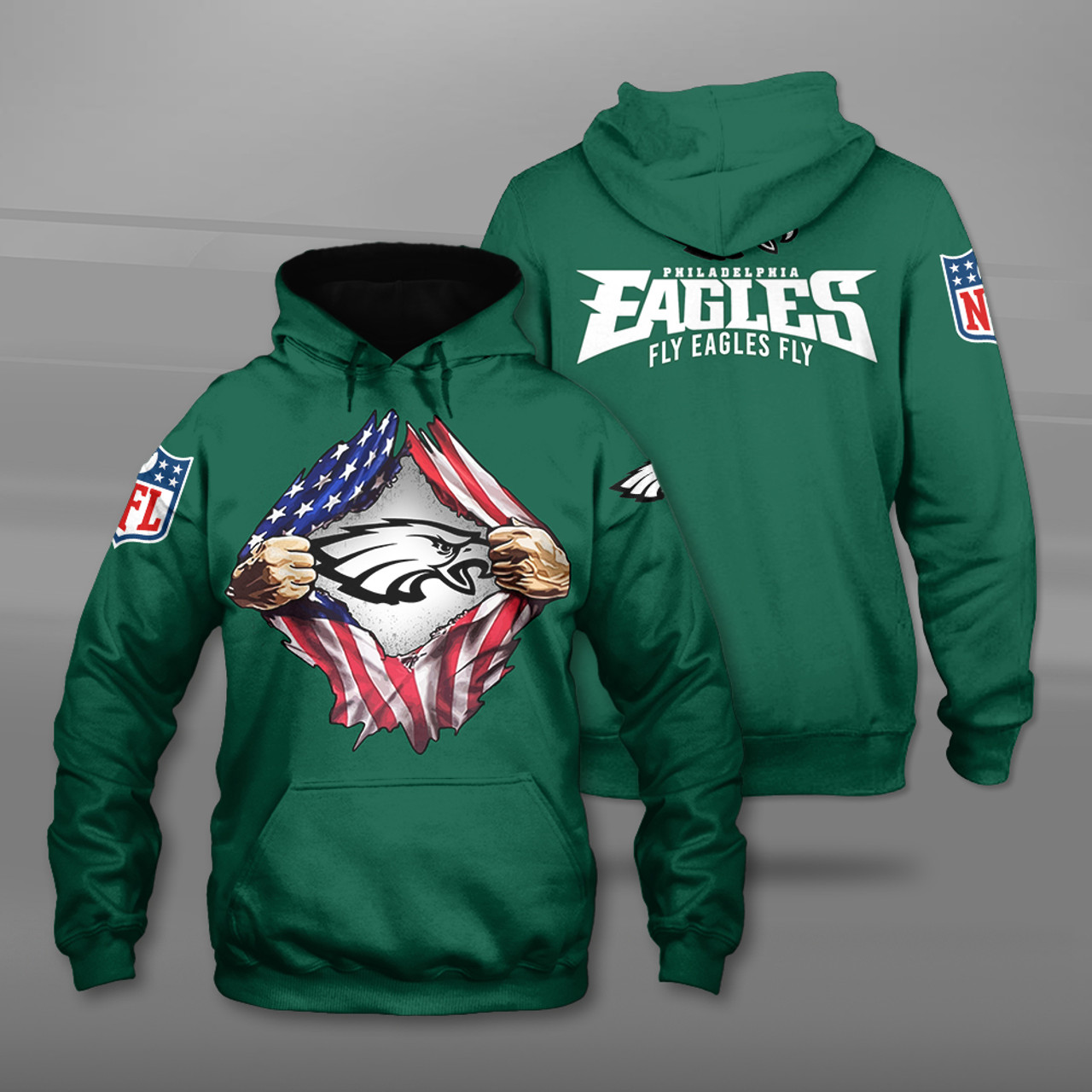 **(OFFICIAL-N.F.L.PHILADELPHIA-EAGLES-TEAM-PULLOVER-HOODIES/CUSTOM-3D-EAGLES-OFFICIAL-LOGOS & OFFICIAL-CLASSIC-EAGLES-TEAM-COLORS/DETAILED-3D-GRAPHIC-PRINTED-DOUBLE-SIDED-DESIGN/PREMIUM-N.F.L.EAGLES & U.S.A.PATRIOTIC-FLAG-THEMED-PULLOVER-HOODIES)**