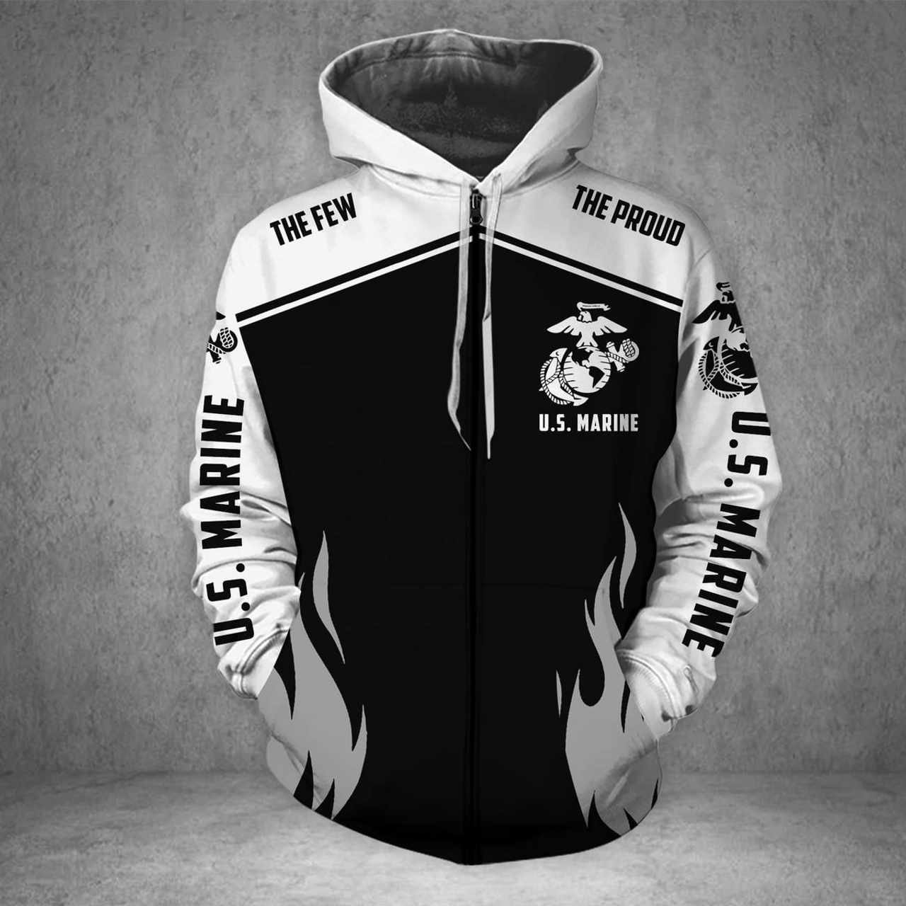 **(OFFICIAL-U.S.MARINE-VETERANS-ZIPPERED-HOODIES/PUNISHER-SKULL & OFFICIAL-CLASSIC-MARINES-GLOBE & ANCHOR-EMBLEM/NICE-3D-CUSTOM-DETAILED-GRAPHIC-PRINTED/DOUBLE-SIDED-ALL-OVER-PRINTED-SLEEVE-DESIGNED/WARM-PREMIUM-ZIPPERED-U.S.MARINES-HOODIES)**