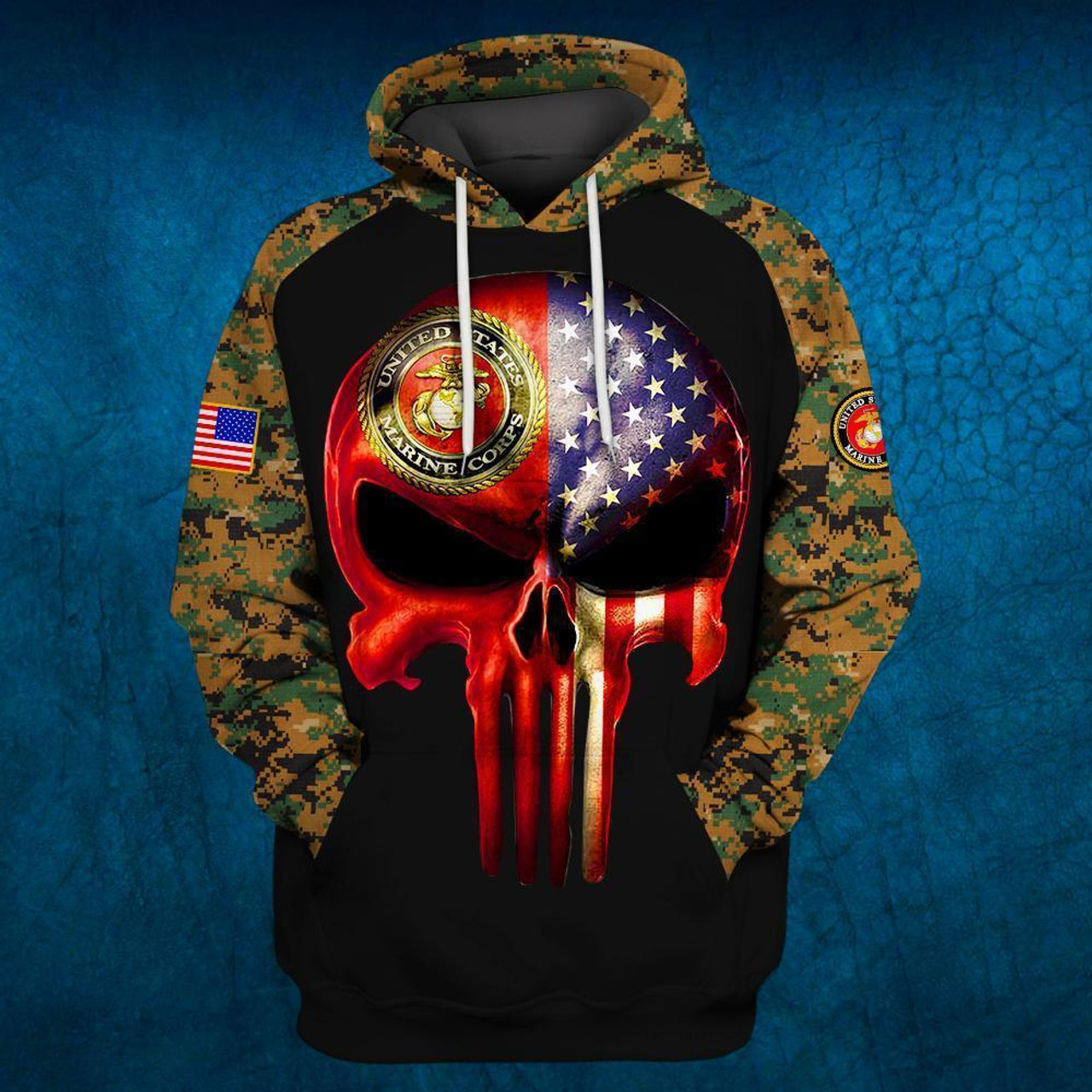 **(OFFICIAL-U.S.MARINE-DIGITAL-CAMO.PULLOVER-HOODIES/PATRIOTIC-PUNISHER-SKULL & OFFICIAL-CLASSIC-MARINES-GLOBE & ANCHOR-EMBLEM/NICE-3D-CUSTOM-DETAILED-GRAPHIC-PRINTED/DOUBLE-SIDED-ALL-OVER-PRINTED-SLEEVE-DESIGNED/WARM-PREMIUM-PULLOVER-U.S.MARINES-HOODIES)**