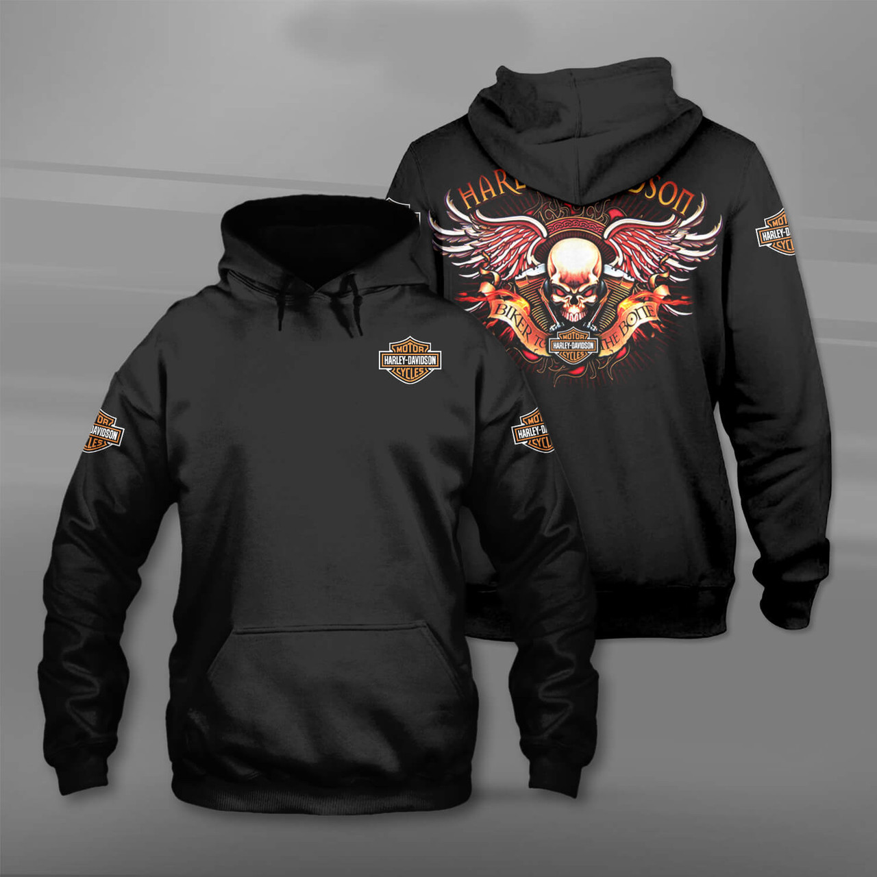 **(OFFICIAL-HARLEY-DAVIDSON-MOTORCYCLE-PULLOVER-HOODIES/CUSTOM-3D-GRAPHIC-PRINTED-ALL-OVER-DESIGN & BIKER-TO-THE-BONE/CLASSIC-OFFICIAL-CUSTOM-HARLEY-LOGOS & OFFICIAL-HARLEY-BLACK & ORANGE-COLORS/WARM-PREMIUM-RIDING-HARLEY-BIKERS-PULLOVER-HOODIES)**