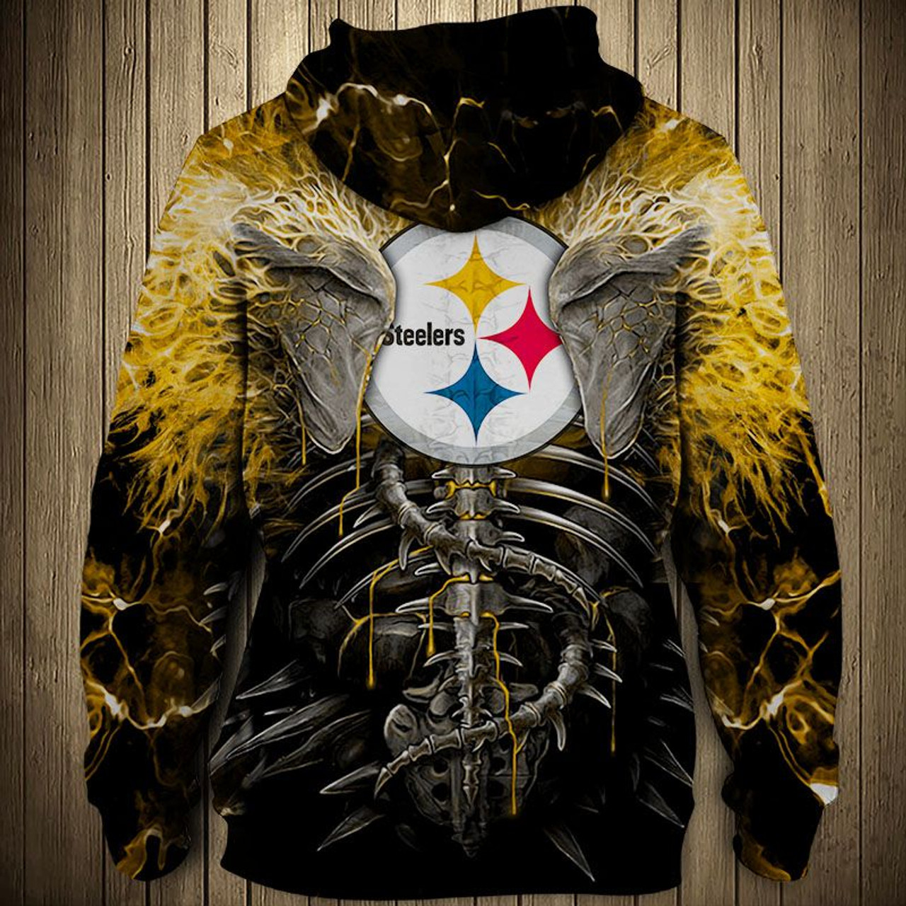 **(OFFICIAL-N.F.L.PITTSBURGH-STEELERS-ZIPPERED-HOODIES/CUSTOM-3D-NEON-YELLOW-STEELERS-ELECTRIC-SCREAM'IN-SKULLS-PREMIUM-3D-GRAPHIC-PRINTED-STEELERS-LOGOS & OFFICIAL-CLASSIC-STEELERS-TEAM-COLORS/DOUBLE-SIDED-ALL-OVER-DESIGN-ZIPPERED-TEAM-HOODIES)**