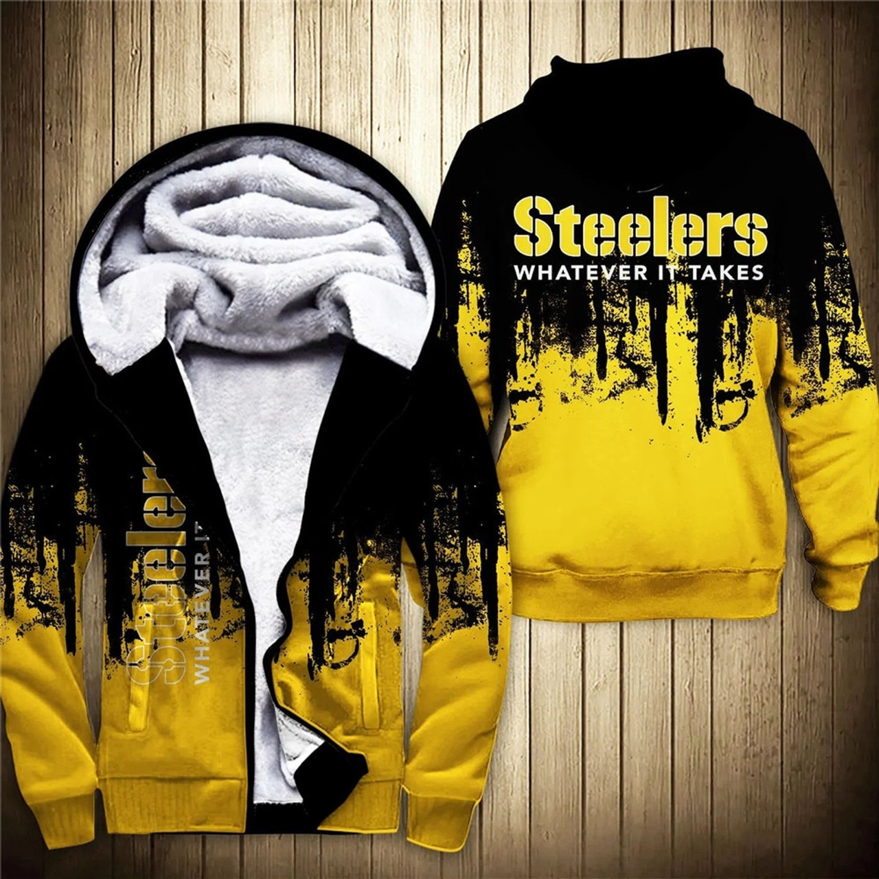 **(OFFICIAL-N.F.L.PITTSBURGH-STEELERS-FLEECE-ZIPPERED-HOODIES & WHATEVER-IT-TAKES/OFFICIAL-STEELERS-TEAM-LOGOS & OFFICIAL-CLASSIC-TEAM-COLORS/CUSTOM-3D-GRAPHIC-PRINTED-DOUBLE-SIDED-ALL-OVER-DESIGN/PREMIUM-FLEECE-LINED-STEELERS-TEAM-ZIP-UP-HOODIES)**