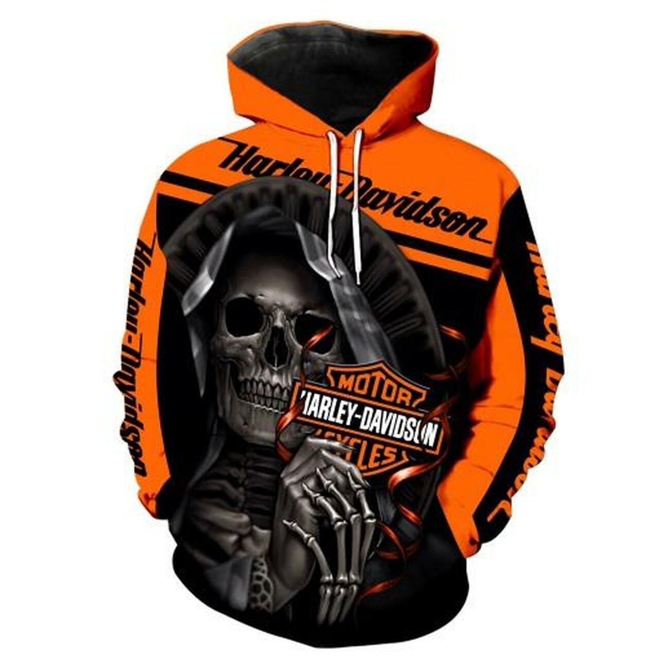 **(OFFICIAL-HARLEY-DAVIDSON-MOTORCYCLE-PULLOVER-HOODIES & GRIM-REAPER/NICE-DETAILED-3D-CUSTOM-GRAPHIC-PRINTED & DOUBLE-SIDED-ALL-OVER-DESIGN/CLASSIC-OFFICIAL-CUSTOM-HARLEY-LOGOS & OFFICIAL-HARLEY-BLACK & ORANGE-COLORS/WARM-PREMIUM-RIDING-HARLEY-BIKERS-STYLISH-PULLOVER-HOODIES)**
