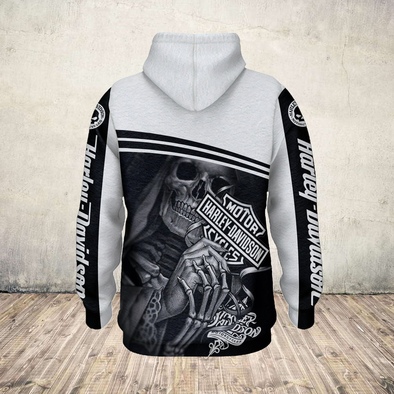 (OFFICIAL HARLEY DAVIDSON MOTORCYCLE PULLOVER HOODIESCUSTOM DETAILED 3D GRAPHIC PRINTED CLASSIC BLACK &