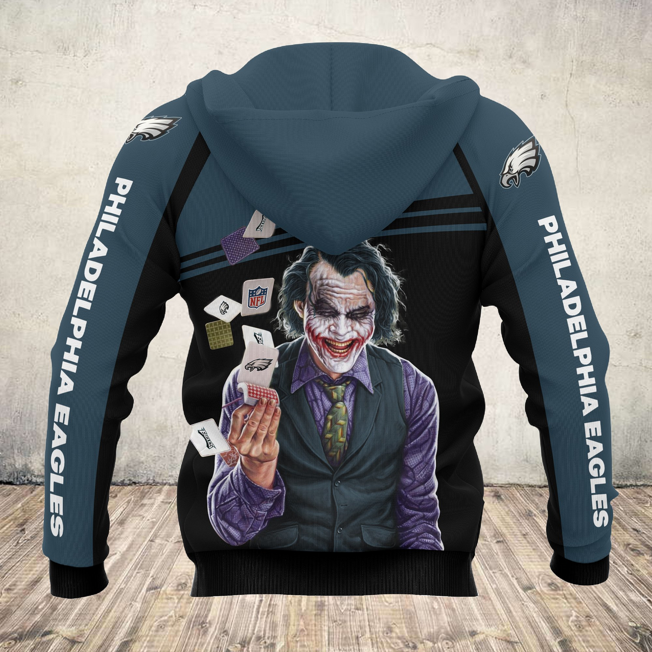 **(OFFICIAL-N.F.L.PHILADELPHIA-EAGLES-ZIPPERED-HOODIES & THE-JOKER-CLASSIC-MOVIE-CHARACTER/OFFICIAL-EAGLES-LOGOS & OFFICIAL-EAGLES-CLASSIC-TEAM-COLORS/NICE-3D-DETAILED-GRAPHIC-PRINTED-DOUBLE-SIDED-DESIGN/WARM-PREMIUM-N.FL.EAGLES-TEAM-HOODIES)**