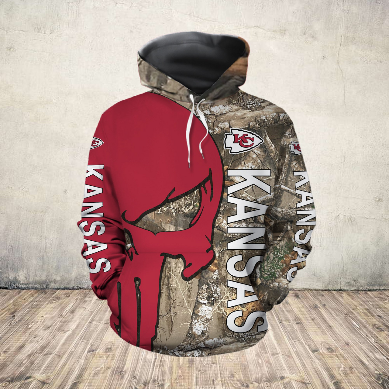 **(OFFICIAL-N.F.L.KANSAS-CITY-CHIEFS-PULLOVER-HOODIES/DETAILED-3D-CUSTOM-GRAPHIC-PRINTED-REAL-TREE-CAMO. PUNISHER-SKULL-DESIGN/OFFICIAL-CUSTOM-CHIEFS-LOGOS & OFFICIAL-CLASSIC-CHIEFS-COLORS/WARM-PREMIUM-CHIEFS-GAME-DAY-TEAM-PULLOVER-HOODIES)**