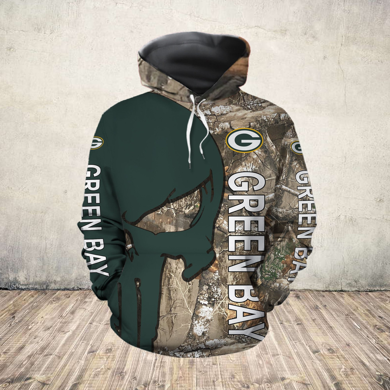 **(OFFICIAL-N.F.L.GREEN-BAY-PACKERS-PULLOVER-HOODIES/DETAILED-3D-CUSTOM-GRAPHIC-PRINTED-REAL-TREE-CAMO. PUNISHER-SKULL-DESIGN/OFFICIAL-CUSTOM-PACKERS-LOGOS & OFFICIAL-CLASSIC-PACKERS-COLORS/WARM-PREMIUM-PACKERS-GAME-DAY-TEAM-PULLOVER-HOODIES)**