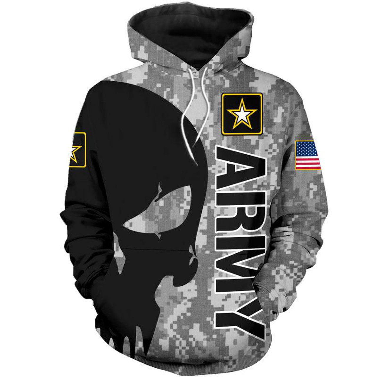 Motorcycle Zip Up Hoodie Military Camo Special Ops Digital Skull