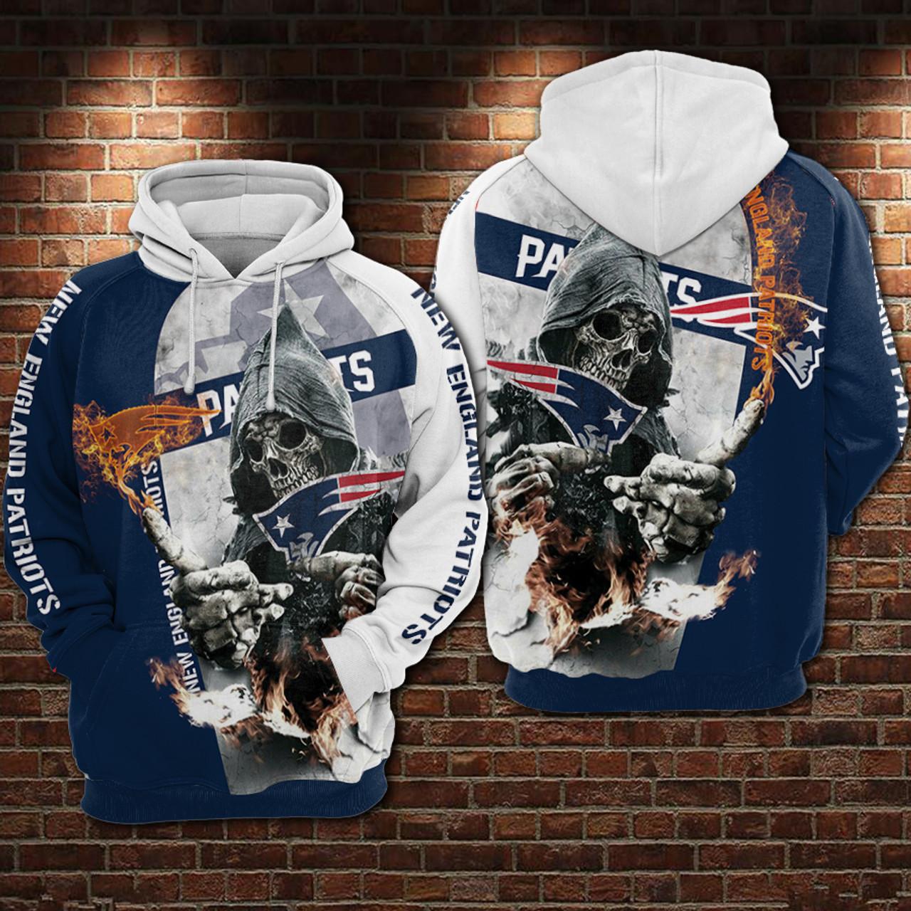 New England Patriots Logo Football Pullover Hooded Sweatshirt